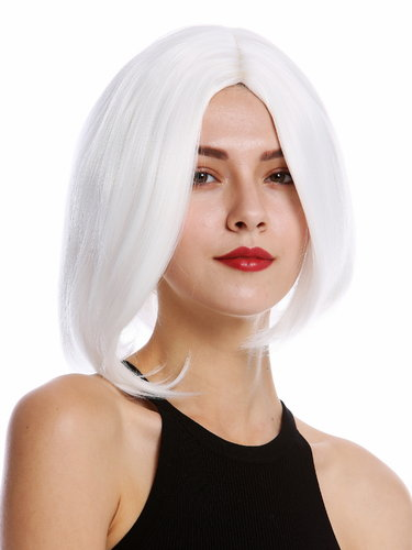 YZF-4360-1001 Lady Quality Wig short Longbob Bob middle parting curved tips white