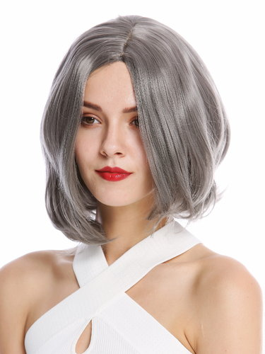 YZF-4360-1001 Lady Quality Wig short Longbob Bob middle parting curved tips gray