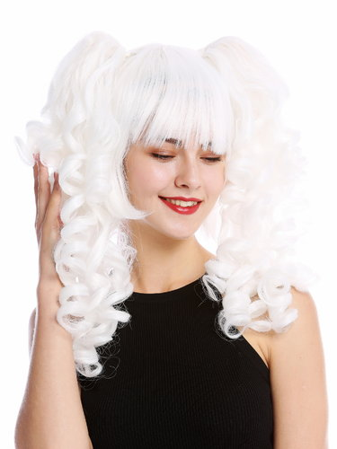 Lady Cosplay Quality Wig bob + 2 removable ponytails pigtails curled bangs ringlets white