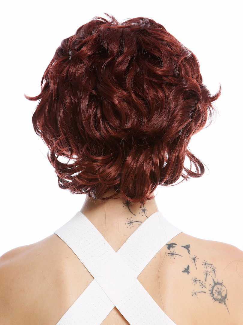 Halfwig Hairpiece With Braided Hair Circlet Shoulder Length Wavy To Curled Light Auburn Copper Brown
