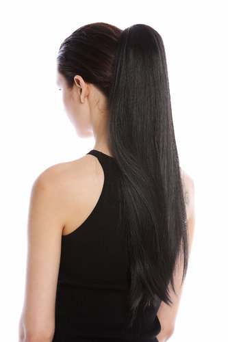 "Hairpiece PONYTAIL (comb & ribbon wrap-around system) pigtail very long (24"") straight smooth black"