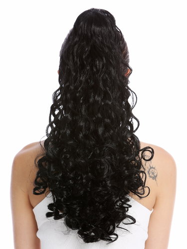 "Ponytail Hairpiece Extensions very long voluminous curled curls black 20"" 19AXL-V-1"