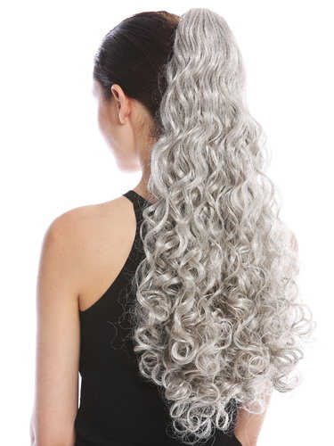 "Ponytail Hairpiece Extensions very long voluminous curled curls silver gray 23"" 9563B-V-51"