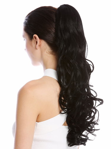 "Ponytail Hairpiece Extensions long voluminous curled wild straggly wet look black 21"" DM44-V-1"
