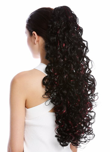 Ponytail Hairpiece optional Combs & Clamp very long voluminous curled black streaked red 23""