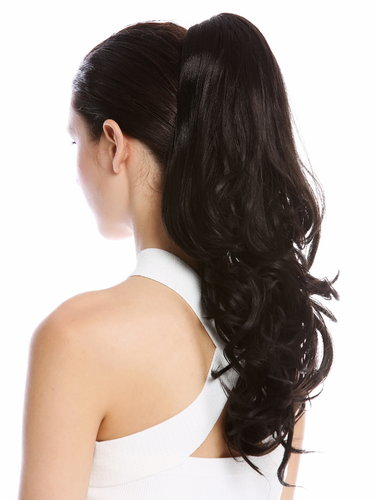 "Ponytail Hairpiece Extensions optional Combs & Clamp long wavy slightly curled black 17"" MKB-30-V-2"