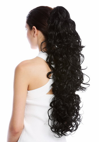 "Ponytail Hairpiece Extensions extremely long voluminous curled curls black 25"" N1095-V-1"