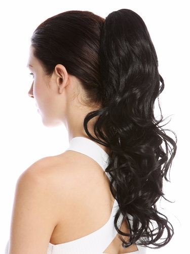"Ponytail Hairpiece Extensions long slightly curled defined curls velvet black 17"" N399-V-1B"
