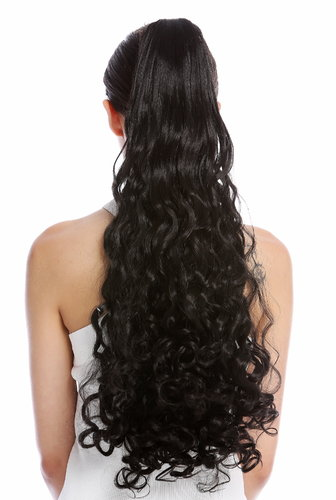 "Ponytail Hairpiece Extensions very long curled curls curly black 23"" N440-V-2"