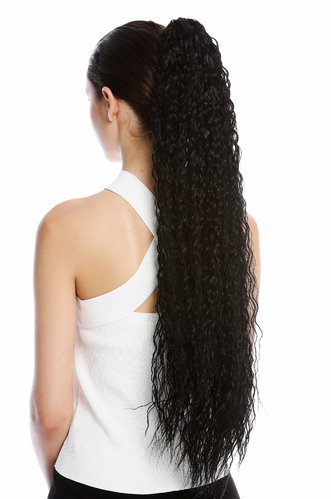 Ponytail Hairpiece Extensions extremely long voluminous curled Afro Caribbean kinks kinked black 29""