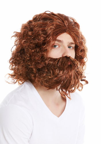 wig & beard carnival prehistoric man neanderthal wood gnome wild hermit red-brown blonde mix