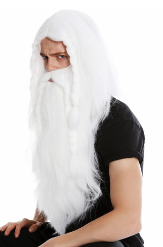 wig & beard men's wig carnival viking barbarian dwarf Teuton germanic people white old long plaited