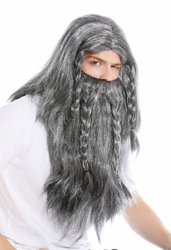 wig & beard viking barbarian Teuton germanic people grey black white mottled old long plaited