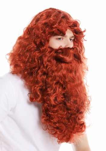 wig and beard set Deluxe Saint Nicholas prophet hermit magician red dark-red 46-A+B-ZA131