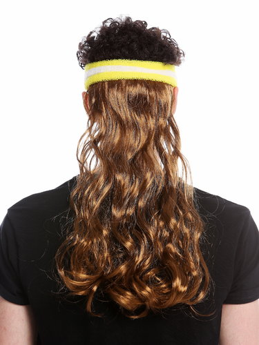 partial wig headband and long mullet 80's tennis player brown CXH-014-P8