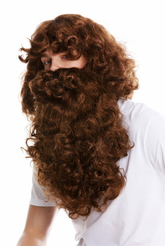 wig and beard set Deluxe Saint Nicholas prophet hermit magician brown 46-A+B-ZA6A
