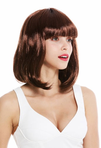 women's party wig carnival shoulder length long bob sleek fringe brown rusty brown 0073-3-P33