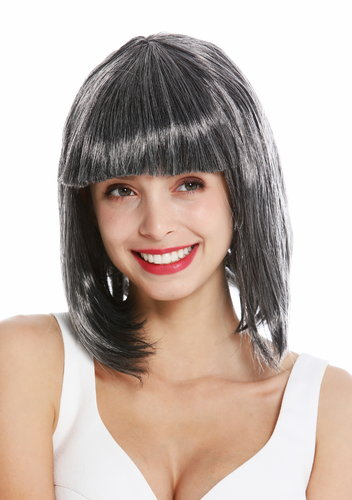 women's party wig carnival shoulder length long bob sleek fringe black grey mottled
