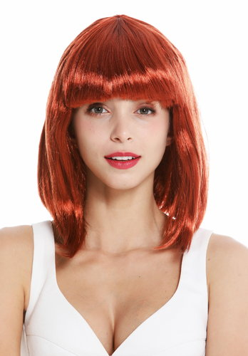 women's party wig carnival shoulder length long bob sleek fringe copper red dark red 0073-3-ZA131