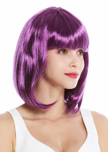 women's party wig carnival shoulder length long bob sleek fringe purple 0073-3-ZA54