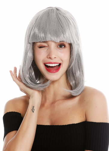 women's party wig carnival shoulder length long bob sleek fringe light grey 0073-3-ZA68E
