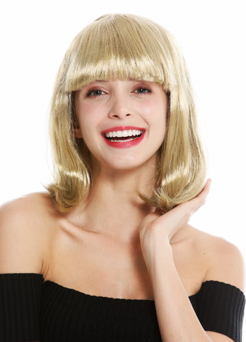 women's party wig carnival shoulder length long bob sleek fringe blonde golden blonde 0073-3-ZA89