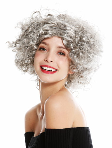 women's party wig carnival Halloween Diva short curly middle parting grey 1352-ZA68R
