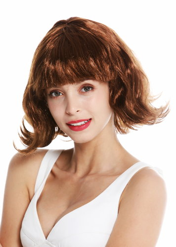 women's party wig Halloween carnival short bob brown wavy tips fringe 90793-ZA6A