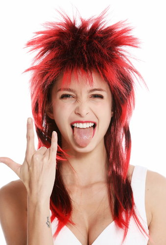 party wig carnival punk mullet rocker wild 80's wave backcombed long black red DH1069-P103TPC13
