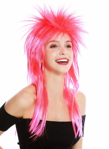 party wig carnival punk mullet rocker wild 80's wave backcombed long red pink mix DH1069-PC13TPC5