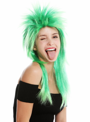 party wig carnival punk mullet rocker wild 80's wave backcombed long green mix DH1069-PC18TPC16