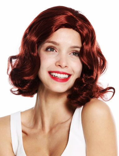 woquality wig 20's swing jazz Charleston Chicago middle parting waves wavy reddish brown chestnut