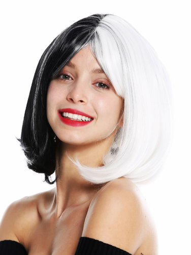 women's quality wig Cosplay short bob long bob voluminous fringe sleek cut in half black half white
