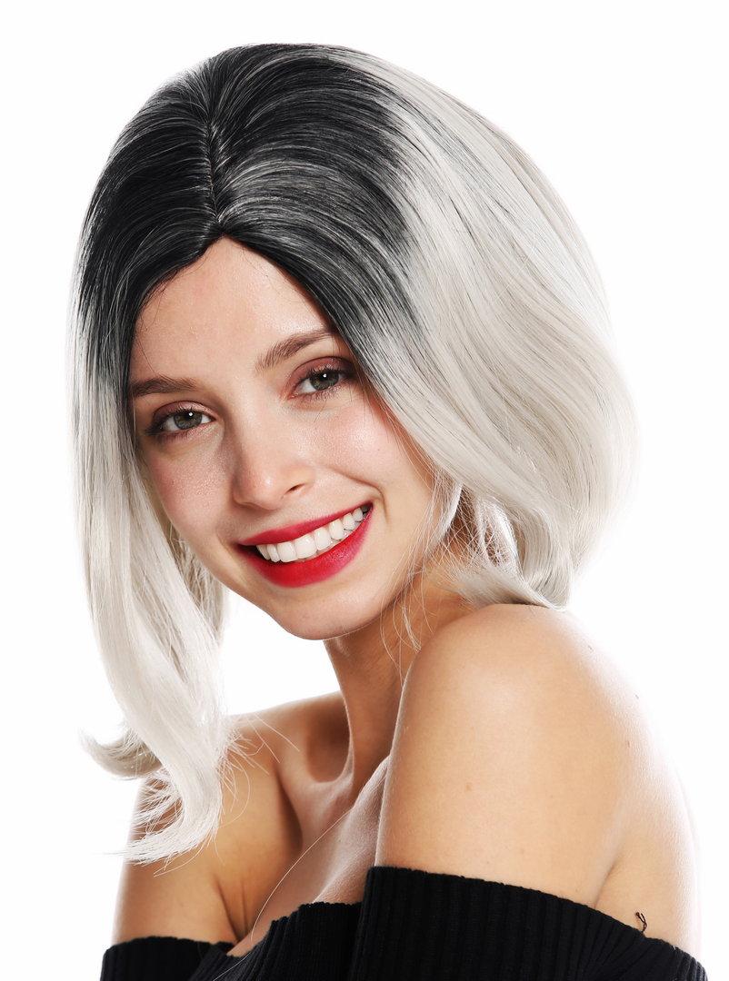 women\u0027s quality wig short bob long bob middle parting ombre black grey  GFW3131A