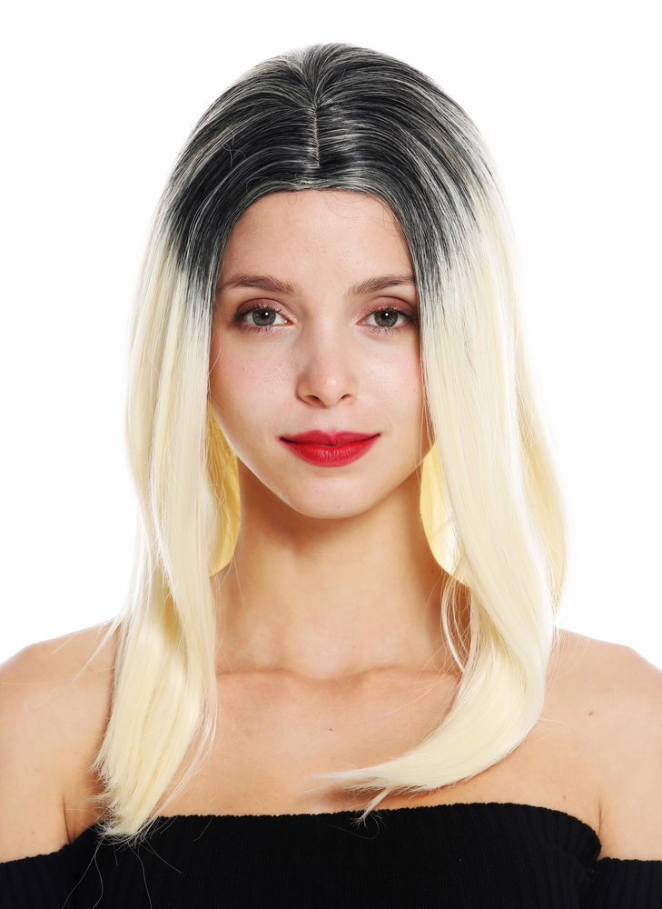 Womens Quality Wig Long Sleek Middle Parting Ombre Black