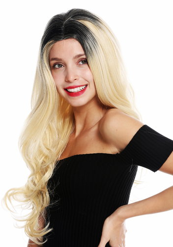 women's quality wig very long wavy middle parting black blonde ombre mix GFW2645