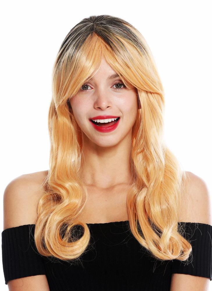 Women S Quality Wig Long Wavy Fringe Ombre Black Copper Blonde Gf W2646 1 G7