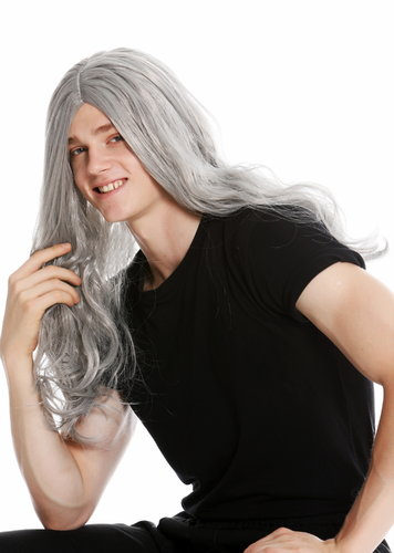 women's party wig men's wig long wild middle parting Heavy Metal old rocker hippie grey LM-155-ZA68E