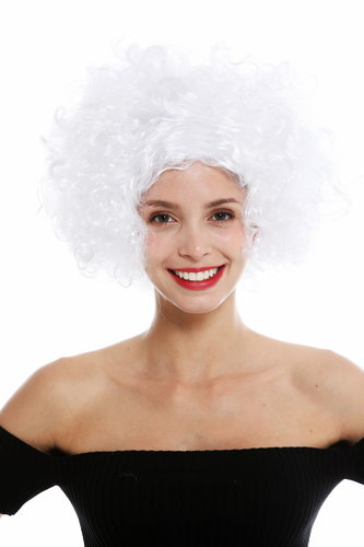 women's party wig carnival Halloween Diva short curly middle parting white 1352-ZA62