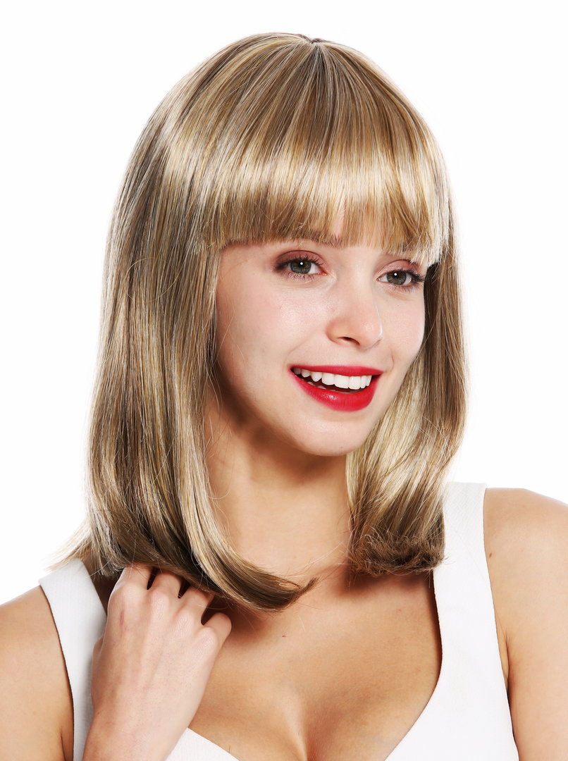 Vk 39 Quality Wig Shoulder Length Sleek Fringe Blonde Mix Dark Blonde Light Blonde Highlighted
