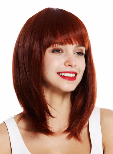 0530-10-350 women's quality wig short shoulder length sleek voluminous layered fringe copper red