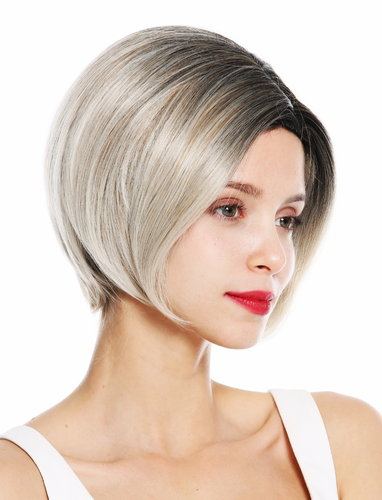 1940-27T60R women's quality wig short sleek bob parting ombre dark hairline blonde highlights