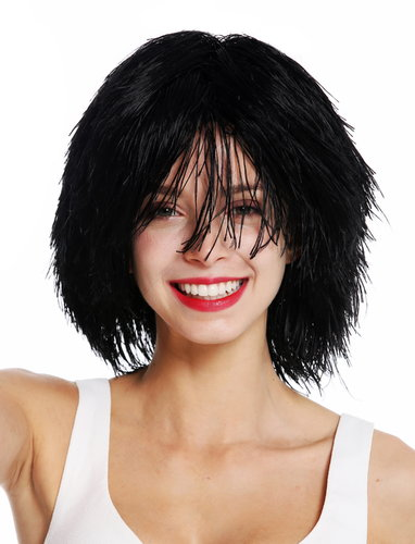 MMSLW-K01 party wig women men carnival shaggy strawy voluminous goblin clown black