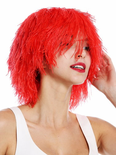 MMSLW-K120B party wig women men carnival shaggy strawy voluminous goblin clown red fiery red