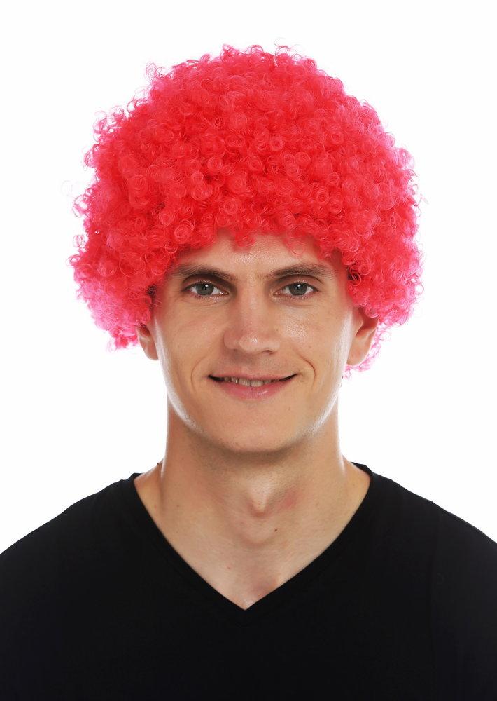 Mmam 9m K120b Wig Carnival Men Women Clown Red Short Afro Frizzy Curly Frizzy Head