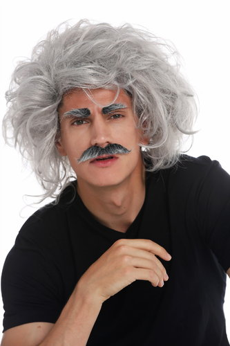 31999-FR68A wig carnival Halloween Einstein mad scientist grandpa professor grey wild mustache