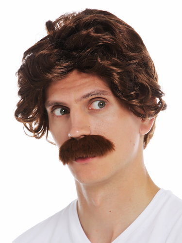 7090-FR33A wig carnival Halloween men mustache 70's retro cop policeman grandpa brown reddish brown