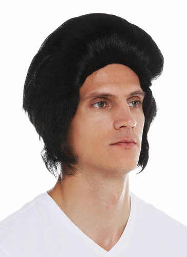 7105-P103 wig carnival Halloween men 50's Rockabilly black side burns pompadour