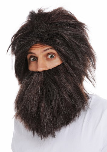 6090A+B-P1-P68A-P30 wig and beard set men carnival wild prehistoric neanderthal brown grey mottled