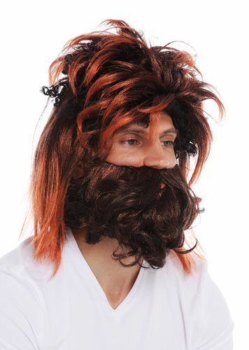 DT9383-P103T130 wig beard set men carnival prehistoric neanderthal black reddish brown highlights